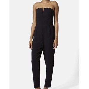 Topshop Black Strapless Bandeau Tailored Jumpsuit